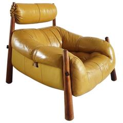 Percival Lafer Brazilian Lounge Chair in Yellow Ocre Leather for Later S.A.