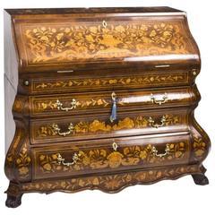 18th Century Dutch Marquetry Burr Walnut Bombe' Bureau