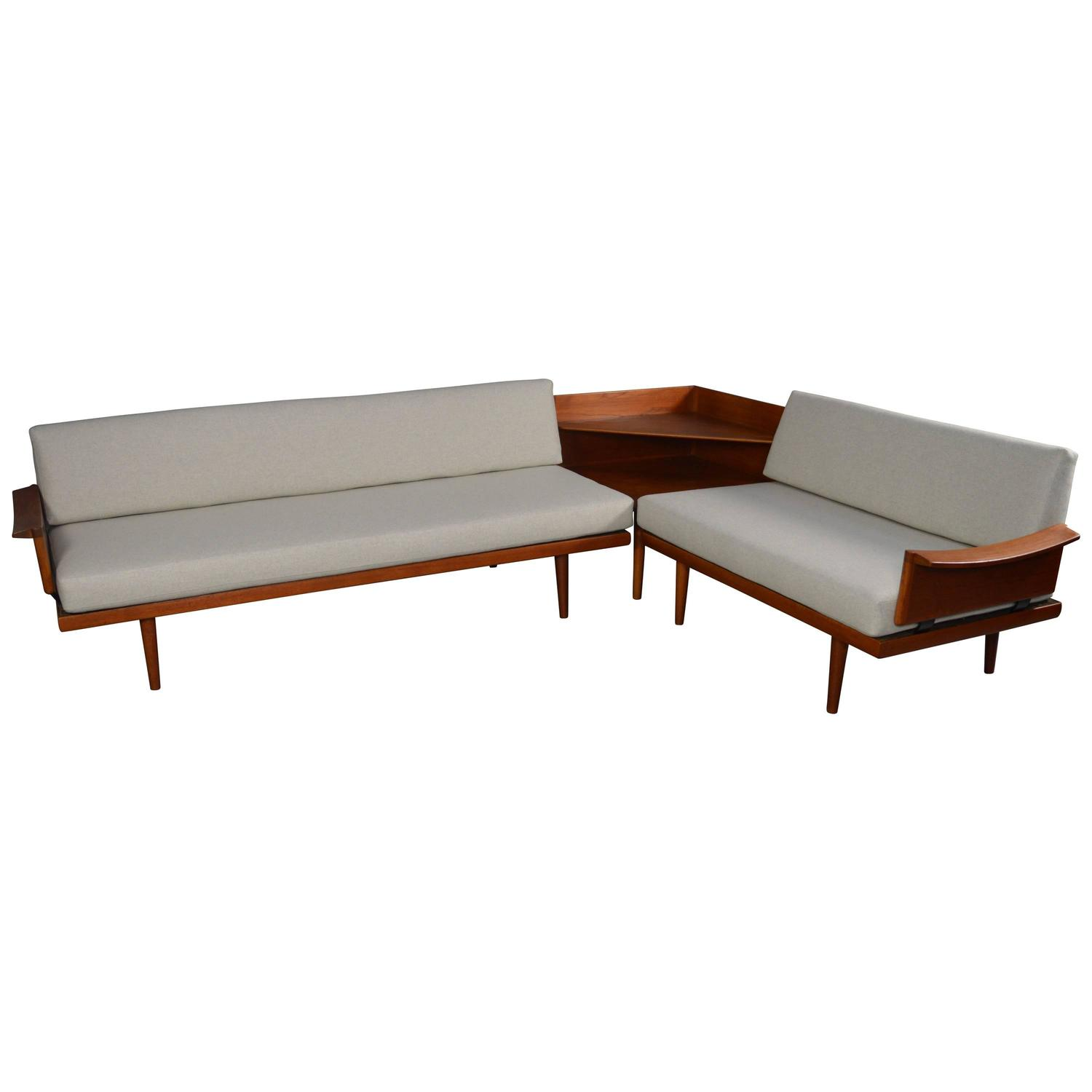 Edvard and Tove Kindt Larsen Teak Daybed Sofa Set and Corner Table