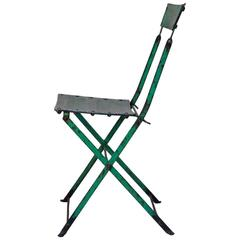 Petite French 1950s Green Painted Aluminium and Iron Chair