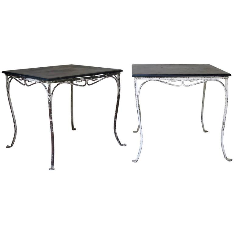 Square Painted Iron and Slate Table, circa 1920s