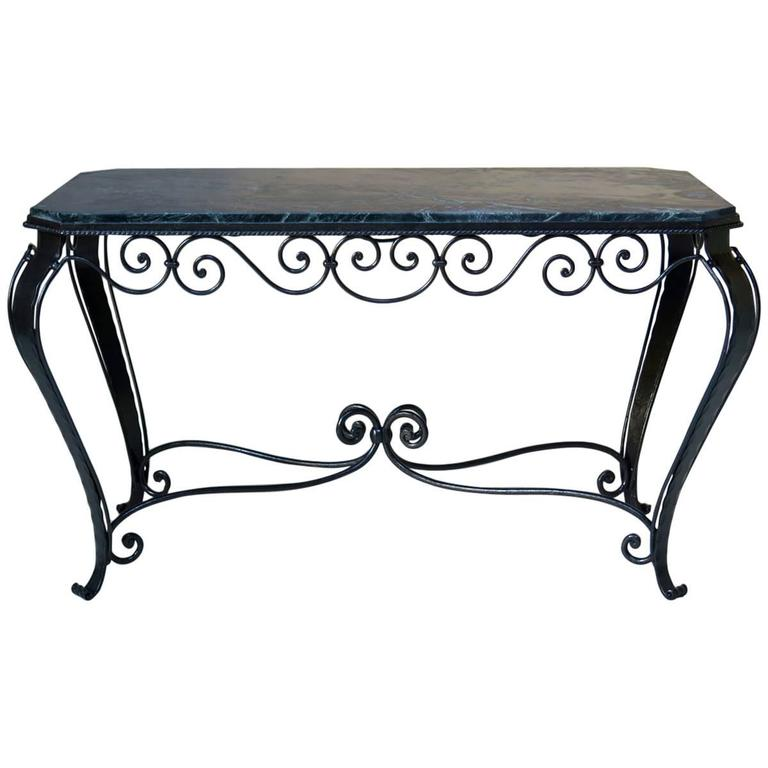 French art deco wrought iron and marble coffee table for Marble and wrought iron coffee table