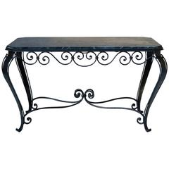 French Art Deco Wrought Iron and Marble Coffee Table, 1940s