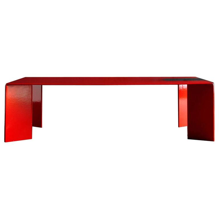 Laqué Rouge Coffee Table in Red Lacquered Steel For Sale