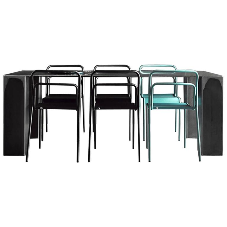 Acier Dark Dinning Table in Handcrafted Steel For Sale