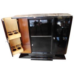 Art Deco Drinking Cabinet Bar Black with 16 Bottle Compartments