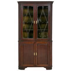 George II Mahogany Glazed Corner Cabinet