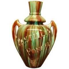 Art Nouveau Huge Ceramic Advertising Vase Pastille Poncelet
