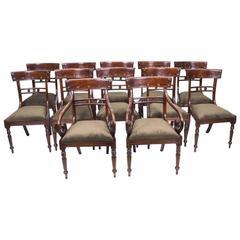 Grand Bespoke Set 12 English Regency Style Bar Back Dining Chairs