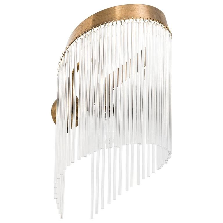 Rare Art Deco wall lamp in brass and glass For Sale at 1stdibs