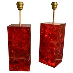 Pair of Large 1970s Fractal Resin Lamps