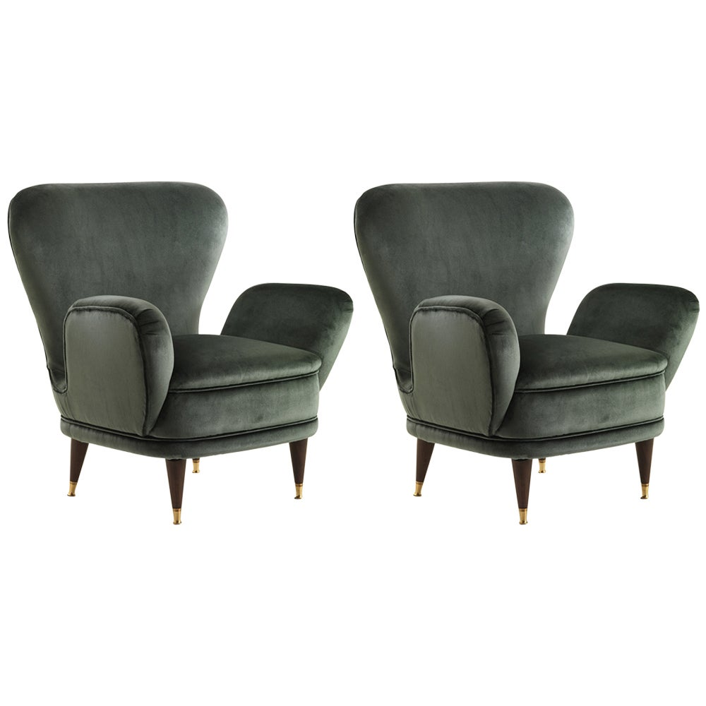 Elegant Pair of Armchairs Produced by Fratelli Boffi, Italy