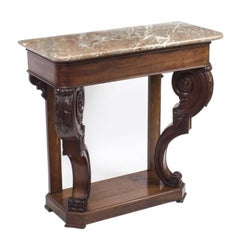 19th Century William IV Mahogany Marble-Top Console Table