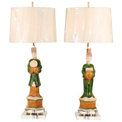 Regal Pair of Chinese Mudmen Figures as Custom Lamps