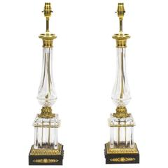 Vintage Pair of French Empire Style Crystal Lamps, circa 1930
