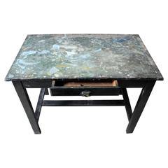 Fantastic French Early 20th Century Painted Pine Artist's Studio Table