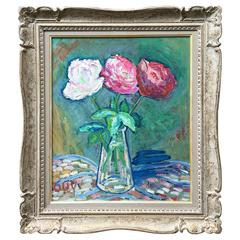 Large Still Life of Peonies/Roses Oil on Canvas, Mid-20th Century, Gerard Albouy
