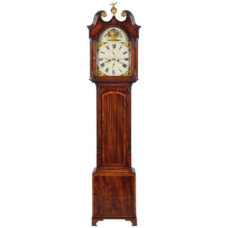 18th Century George III Mahogany Painted Dial Longcase Clock