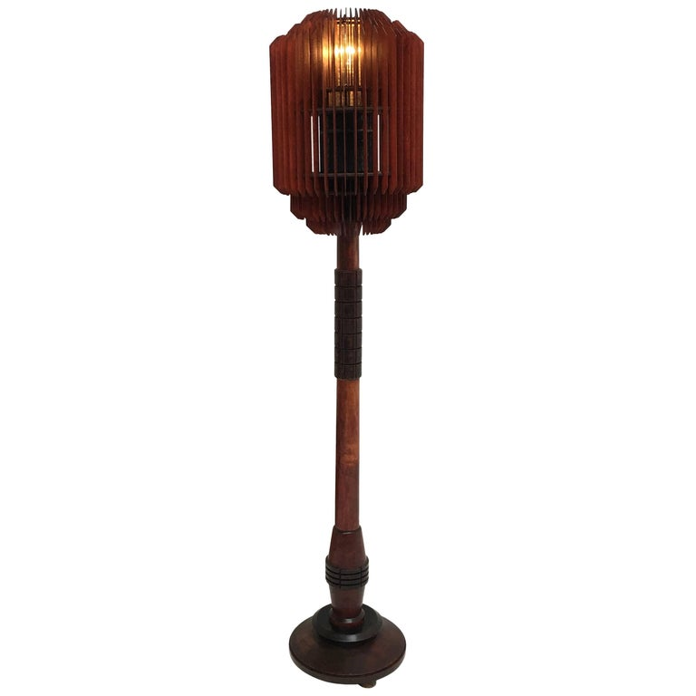 Impressive 1930s Art Deco Louvres Floor Lamp For Sale