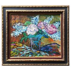 Still Life of Pink, Blue, Purple Hydrangeas, French School Gerard Albouy
