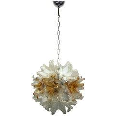 Floral Glass Sputnik Chandelier Mid-Century Murano Glass, Italy