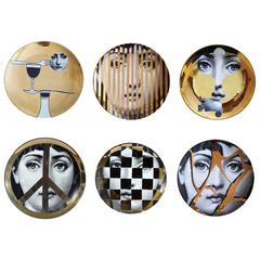Fornasetti Gold Tema E Variazioni Set of Six Plates, Image of  Lina Cavalieri