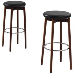 Set of Two Barstools in Faux Leather and Rosewood