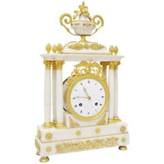 Superb French Louis XVI White Carrara Marble and Gilt Bronze Table Clock