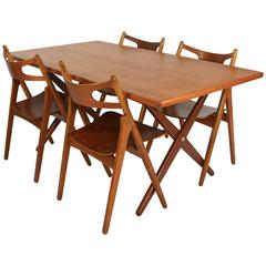 Hans J. Wegner Dining Set AT-303 Table and Sawbuck Chairs