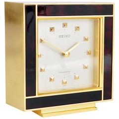 Beautiful Gold and Brown Hollywood Regency Table Clock, Seiko, 1970s