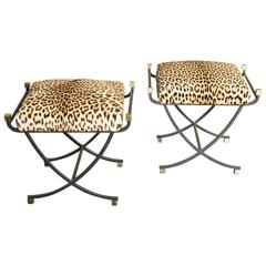1960s Pair of Leopard Stools