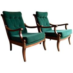 Antique Armchairs Pair Victorian Beech, 19th Century, Continental