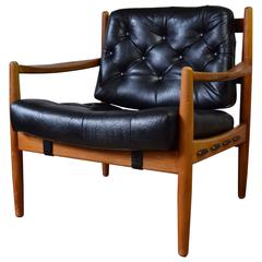 Danish Leather Lounge Chair, 1960s