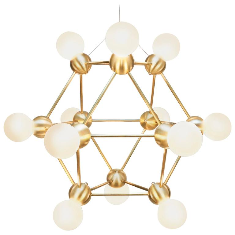 Lina Twelve-Light Chandelier, Brushed Brass Modern Minimal Geometric Space-Frame