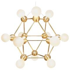 Lina Twelve-Light Chandelier, Brushed Brass Modern Minimal Geometric Space-Frame