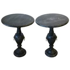 Pair Italian Neoclassical Black & White Marble Round Side Tables