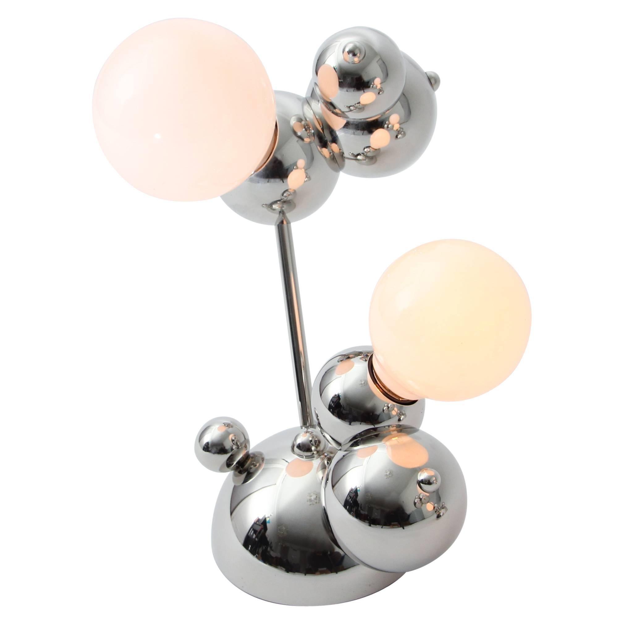Bubbly 02-Table Lamp, Polished Nickel, Modern Molecular Sculptural Lighting