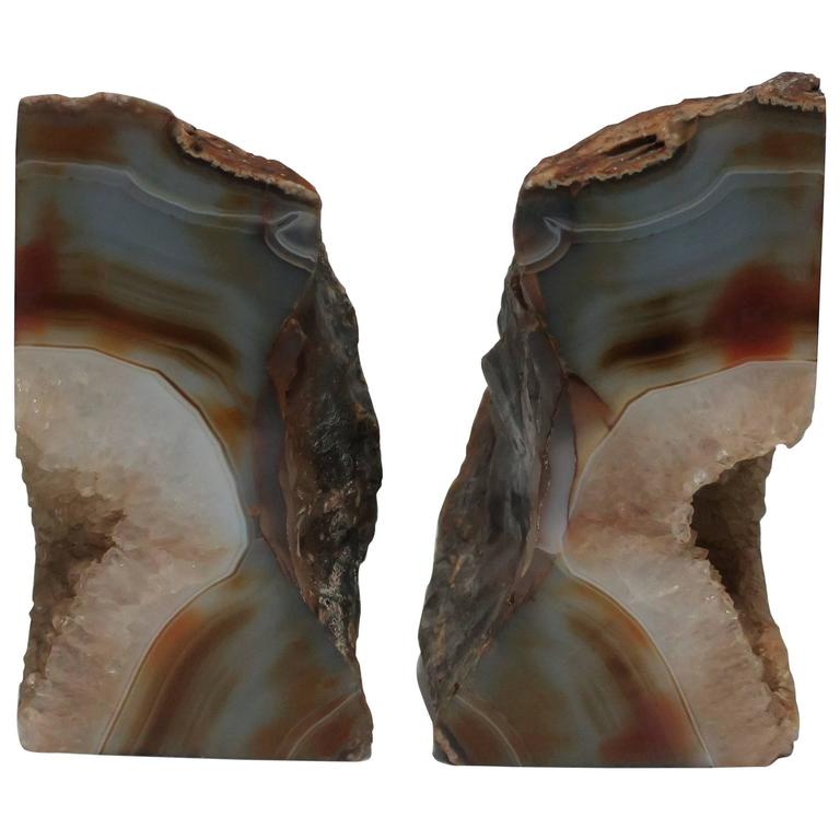 Pair vintage agate geode bookends 1990s for sale at 1stdibs - Geode bookends ...