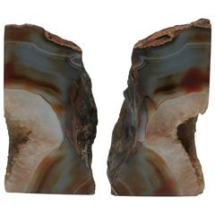 Pair Vintage Agate Geode Bookends, 1990s