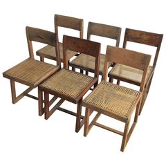 Pierre Jeanneret Rare Set of Six Chairs, Model No.PJ-SI-54-A