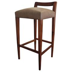 Umberto Contemporary Rosewood and Leather Stool from Costantini