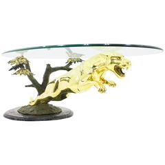 Brass and Glass Sofa Table with a Jumping Panther, France 1960s