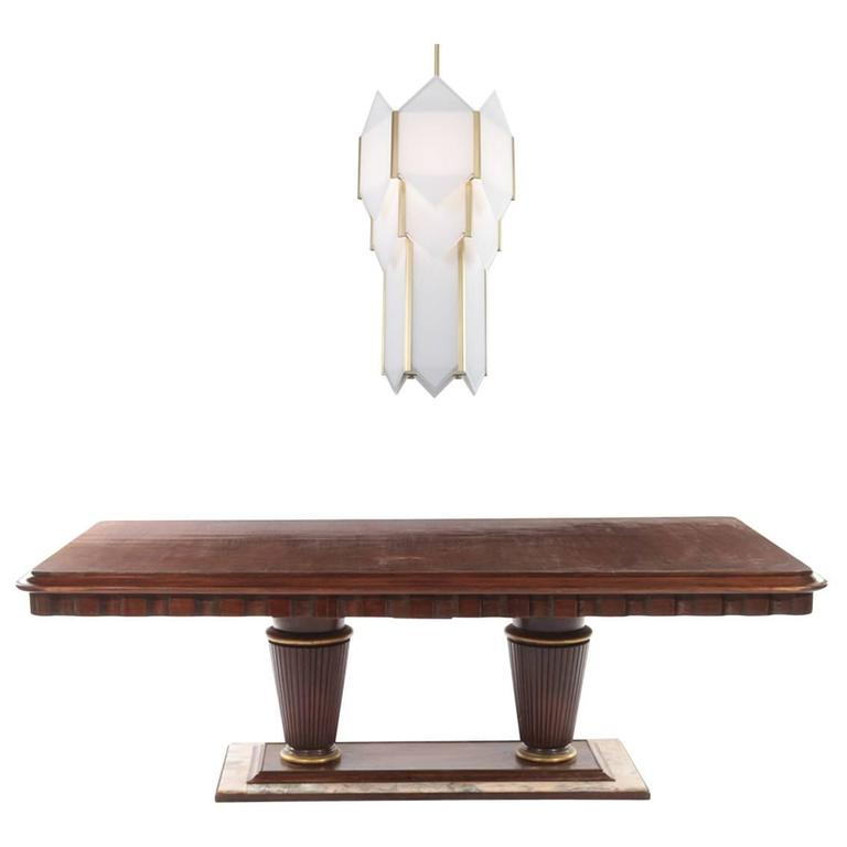 Mahogany And Marble Art Deco Dining Room Table With Skyscraper Chandelier For Sale