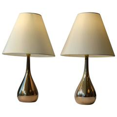 1950s Pair of Mauri Almari Brass Drop Table Lamps, Idman, Finland