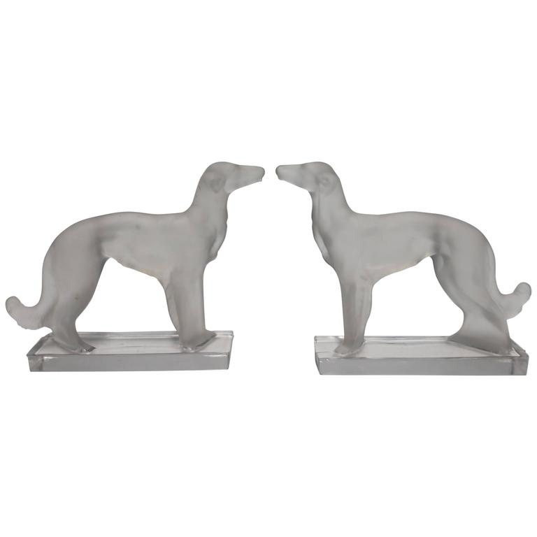 Pair Art Deco Wolfhound Dog Bookends