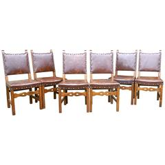 Set of Six Country Oak Arts and Crafts Leather Upholstered Dining Chairs