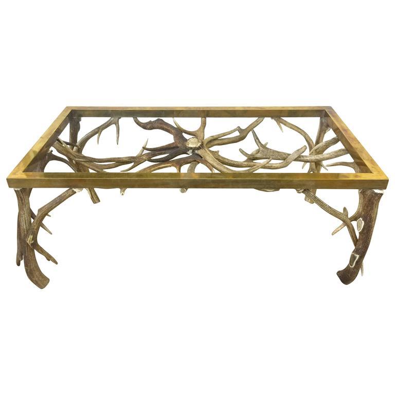 Horn/Brass Coffee Table atteibuted to Anthony Redmile For Sale