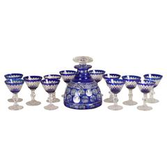 Cut to Clear Cobalt Decanter and Goblet Set