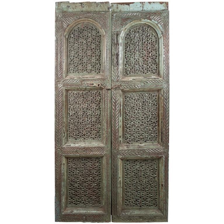 Carved, Painted Wood Door from India For Sale