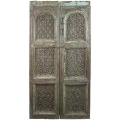 Carved, Painted Wood Door from India